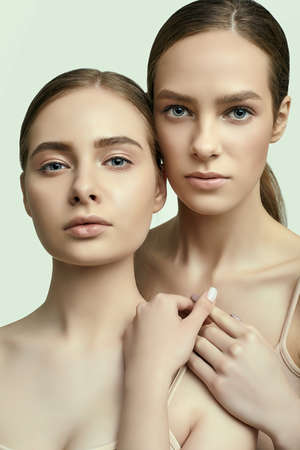 Studio portrait of two sensual young brunette girls with clear fresh face skin and perfect nude makeup Imagens