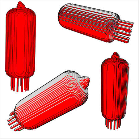 electric lamp vacuum device model glowing voxel vector graphics