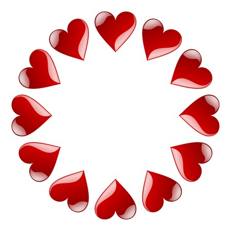 circle of red aqua hearts