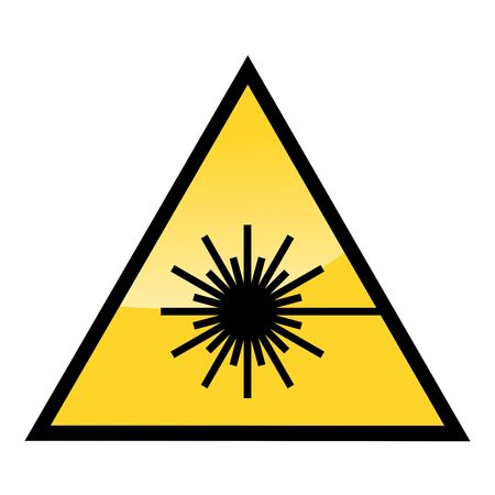 warning triangle: caution laser beam warning sign