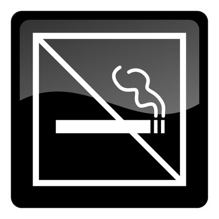 obey: no smoking button Stock Photo