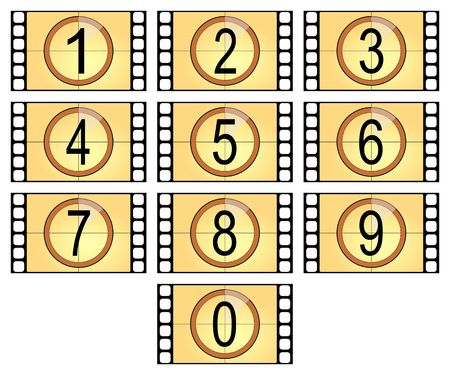 showbusiness: numbered filmstrips isolated in old style