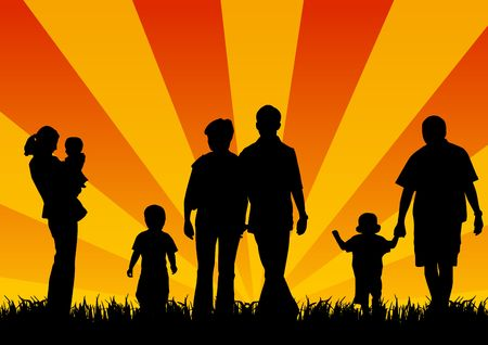 silhouettes of young people with children Stock Photo - 5472507