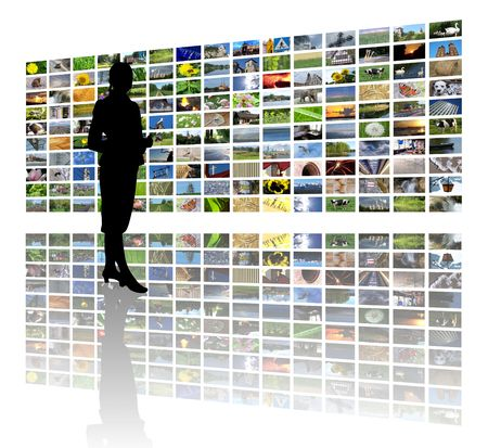 woman and huge lcd panel presentation Stock Photo