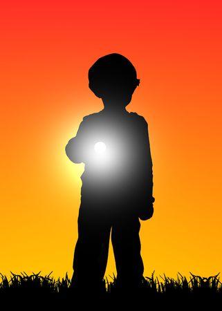 kid with flashlight at sunset illustration illustration