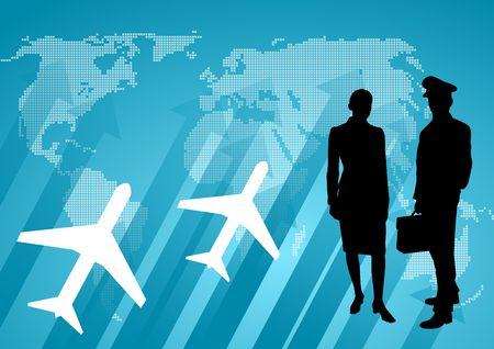 airline hostess: international communication background Stock Photo