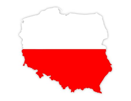 Polonia: white and red map of poland on white background