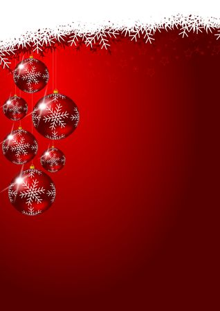 christmas decoration with glass balls and snowflakes photo