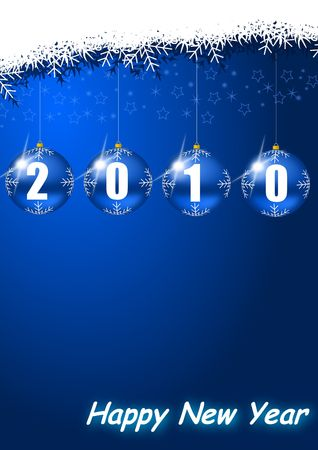 symbolize: new year 2010 illustration with glass ball and snowflakes