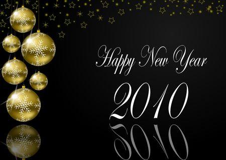 gold ball: happy new year 2010 Stock Photo
