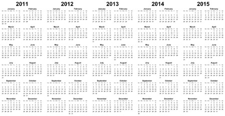 calendar for year 2011, 2012, 2013, 2014, 2015 photo