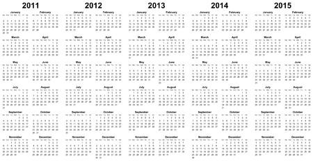calendar for year 2011, 2012, 2013, 2014, 2015 Stock Photo - 7810795