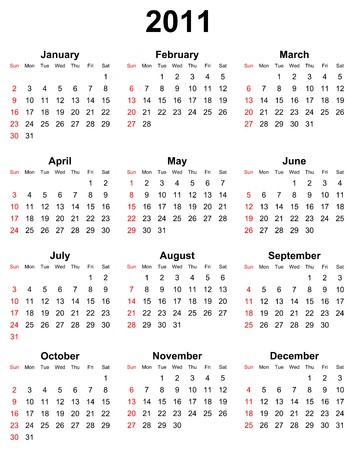 schedulers: simple editable calendar for year 2011 illustration