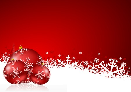 red christmas background with snowflakes and christmas balls photo