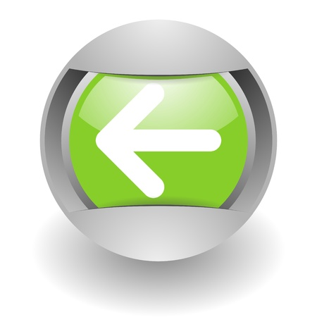 back arrow: steel green glosssy arrow icon Stock Photo