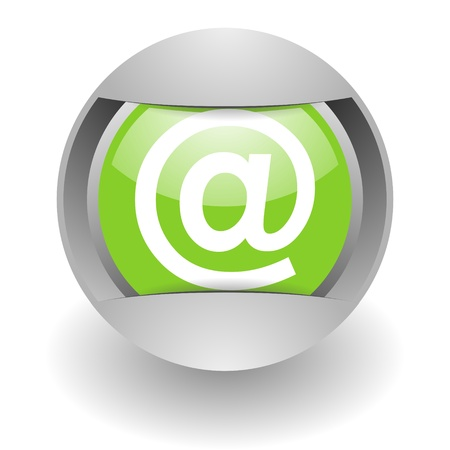 silvered: e-mail steel green glosssy icon