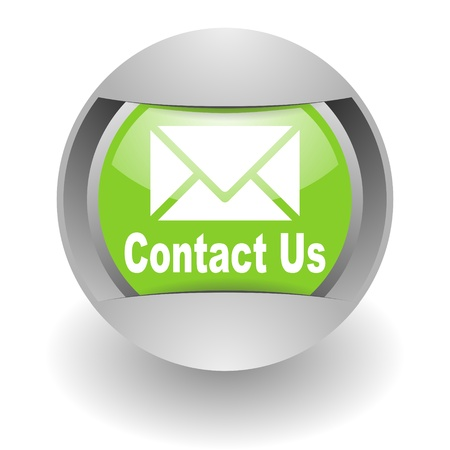 email contact: contact us steel green glosssy icon Stock Photo