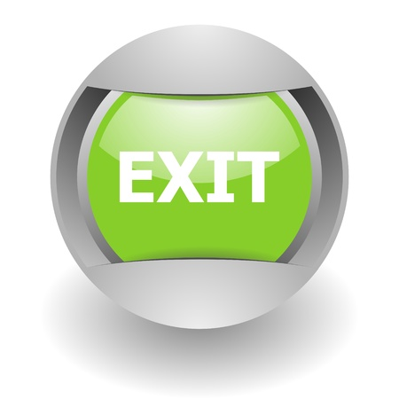 esc: exit steel green glosssy icon Stock Photo