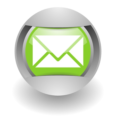 webmail: mail steel green glosssy icon Stock Photo