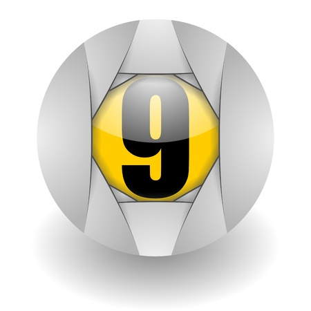 number nine: n�mero de icono nueve de acero
