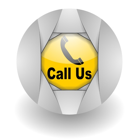 call us steel glosssy icon Stock Photo - 9045399
