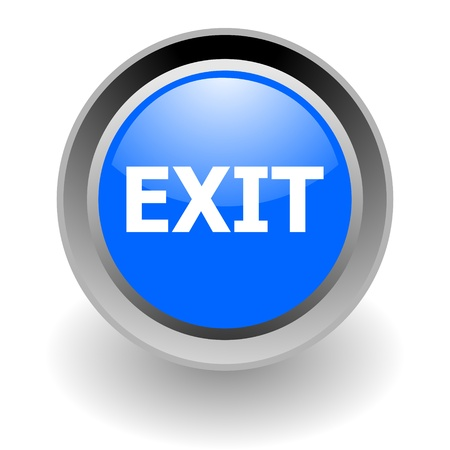 shiny button: exit steel glosssy icon