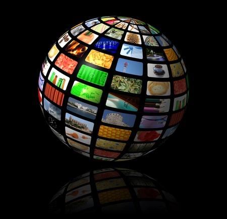 satelite: esfera multimedia Foto de archivo