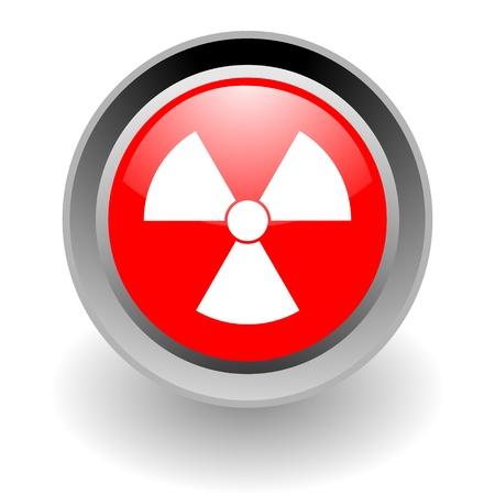 radiactividad: icono de glosssy acero nuclear Foto de archivo