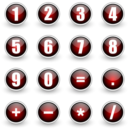 number button: numbers red button set