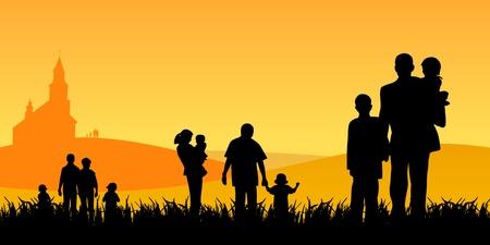 �glise: les jeunes avec des enfants allant � l'�glise