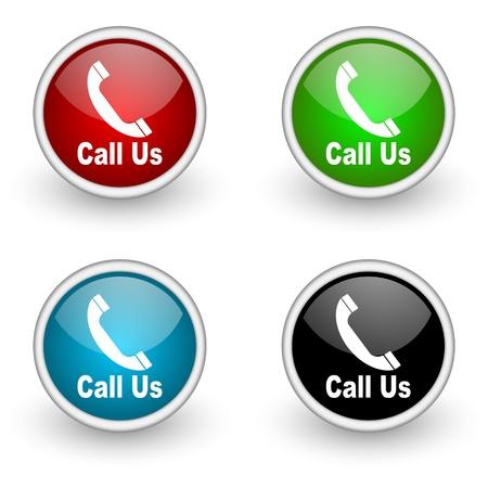 man on cell phone: Grupo de botones de vector de tel�fono