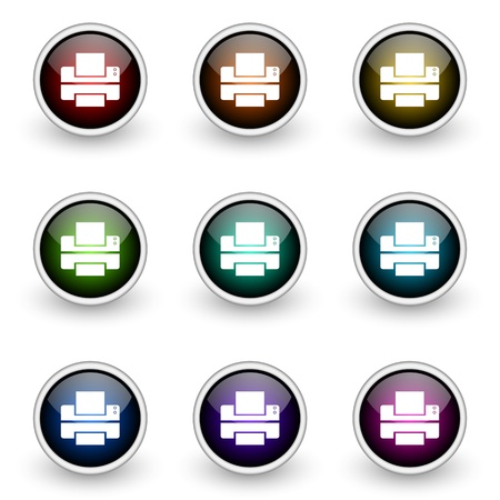 printer vector button set Stock Vector - 9407953
