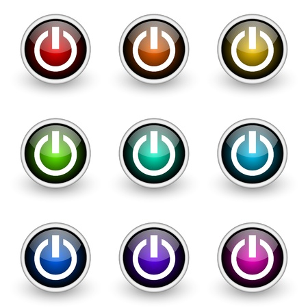 quencher: power vector button set Illustration