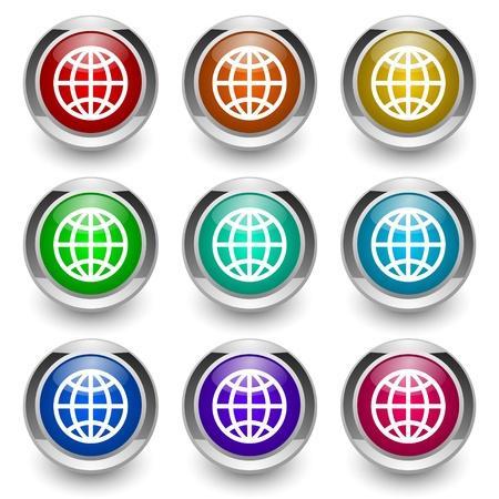 globe button set Stock Photo - 9460931
