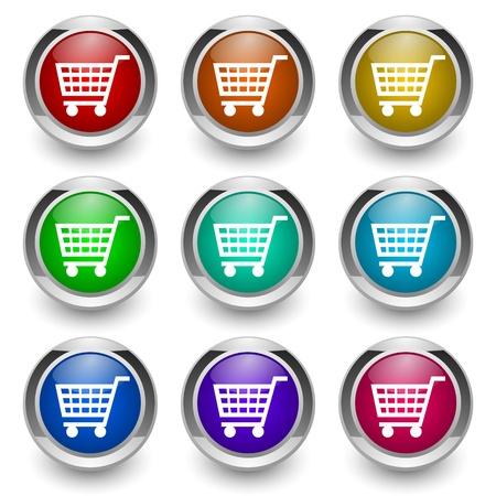 shopping cart button set Stock Photo - 9460872