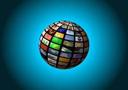 media center: multimedia sphere background
