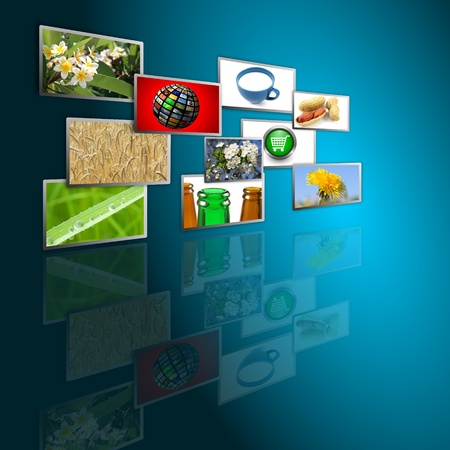 cable TV: multimedia background Stock Photo