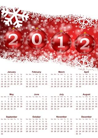 2012 calendar with christmas balls Stock Photo - 9669183