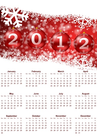 schedulers: 2012 calendar with christmas balls