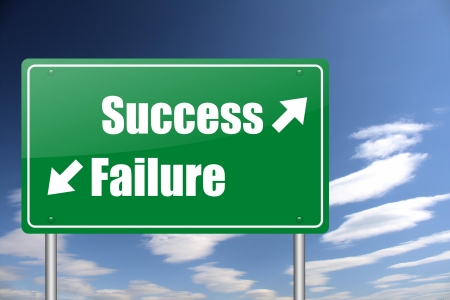 success - failure green road sign photo