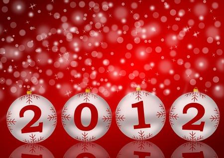 2012 new year illustration with christmas balls Stock Illustration - 10026627