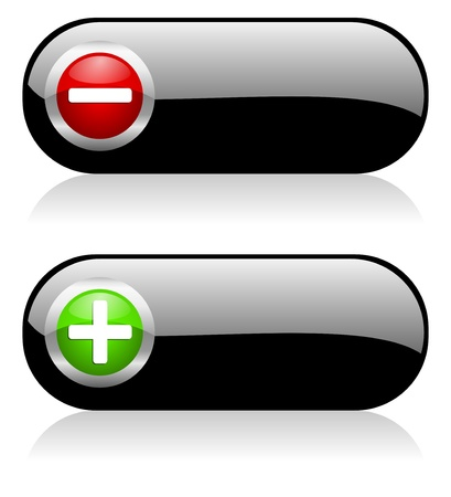 volume discount: plus - minus buttons Stock Photo