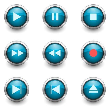 multimedia buttons set Stock Photo