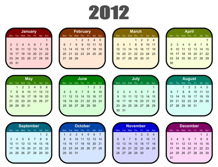 colorful calendar for 2012 year Stock Photo - 10577141