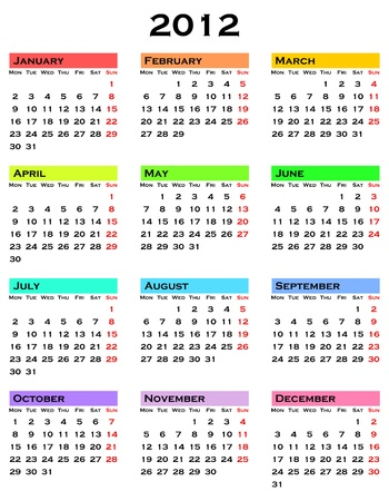 colorful calendar for 2012 year Stock Photo - 10577142