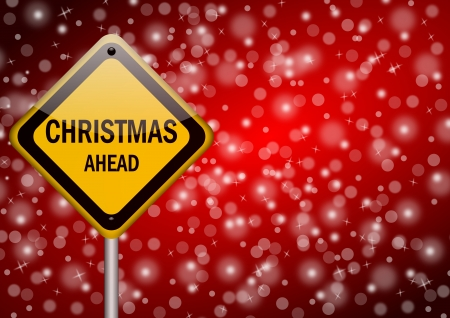winter time: christmas ahead traffic sign on snowing background