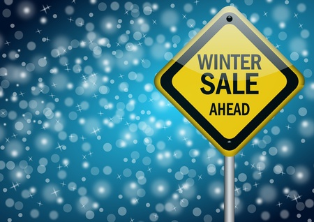 discount banner: winter sale background with snowflakes Stock Photo