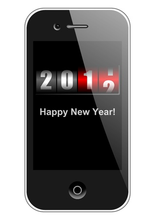 newyear: mobile phone with new year counter