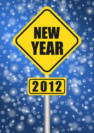 happy new year 2012 traffic sign Stock Photo - 11105484