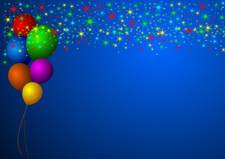 new year illustration with stars and balloons Stock Illustration - 11222015